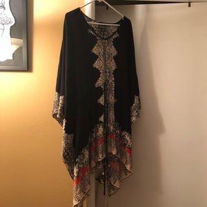 Tunic blouse w/ elastic @ waist w/ drawstring. L